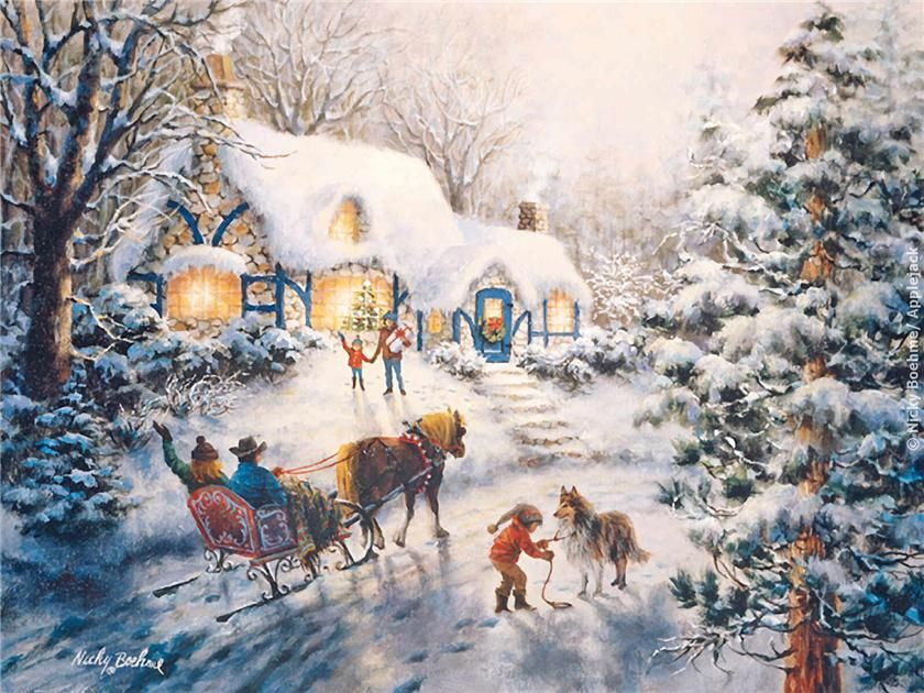 Christmas Visit by Nicky Boehme ~ horse~drawn sleigh winter people cottage