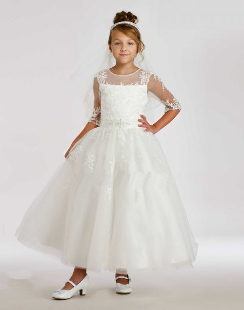 519df132aeee Macis Couture-Designer Girls Dress Style 1860- European Long Sleeve Lace and  Tulle Dress