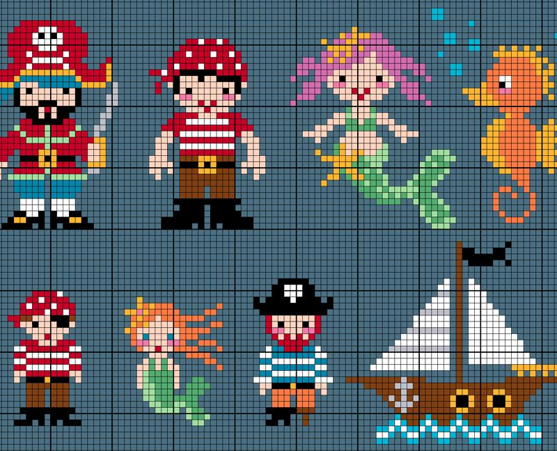 Cross Stitch Sea Creatures & Pirates Free Pattern sheet from Commonthread #stitching