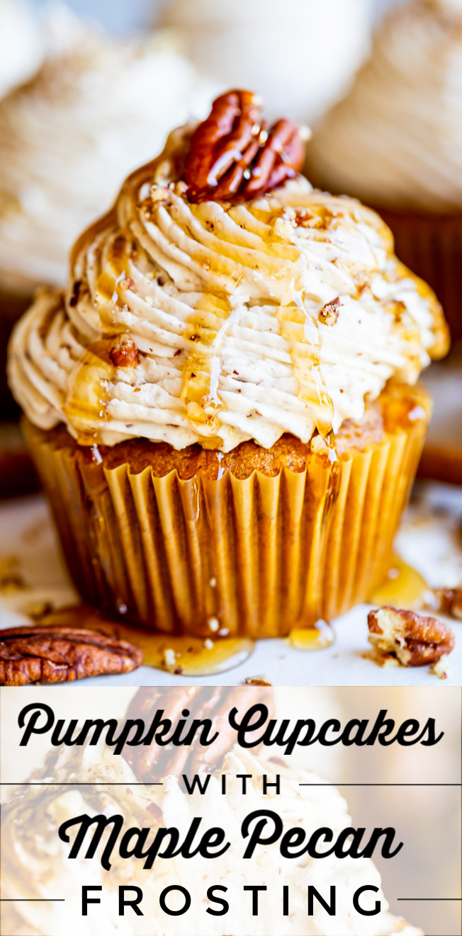 Pumpkin Cupcakes with Maple Pecan Frosting from The Food Charlatan