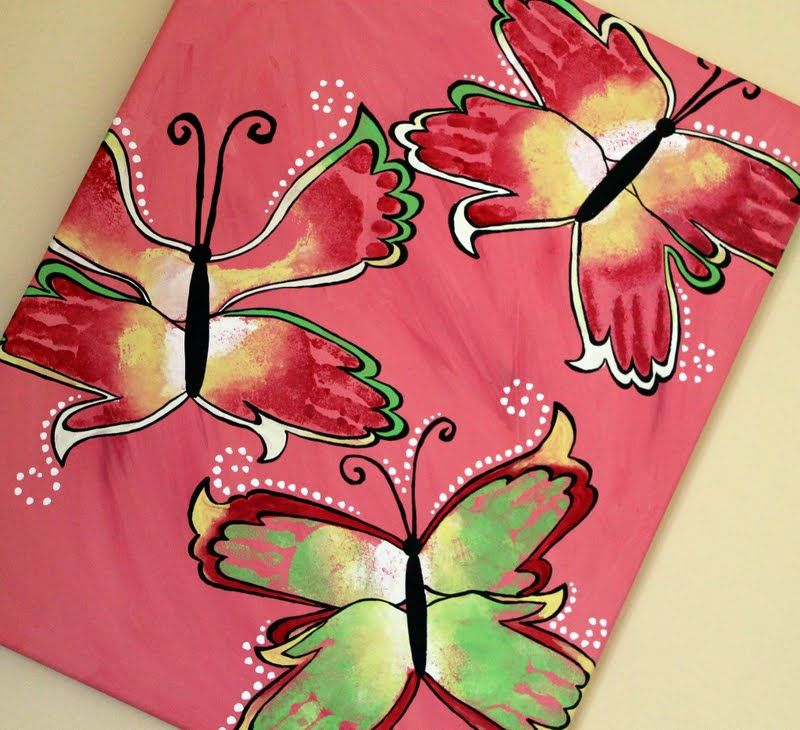 Butterfly print painting butterfly craft and hand print art for Butterfly hands craft