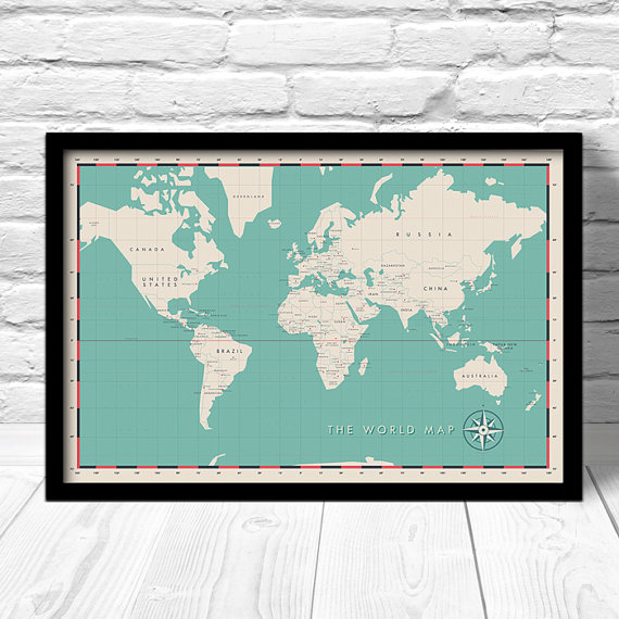 Hey i found this really awesome etsy listing at httpsetsy world political map print modern world map travel map for home decor hip art map print world capitals map by considergraphics on etsy gumiabroncs Gallery
