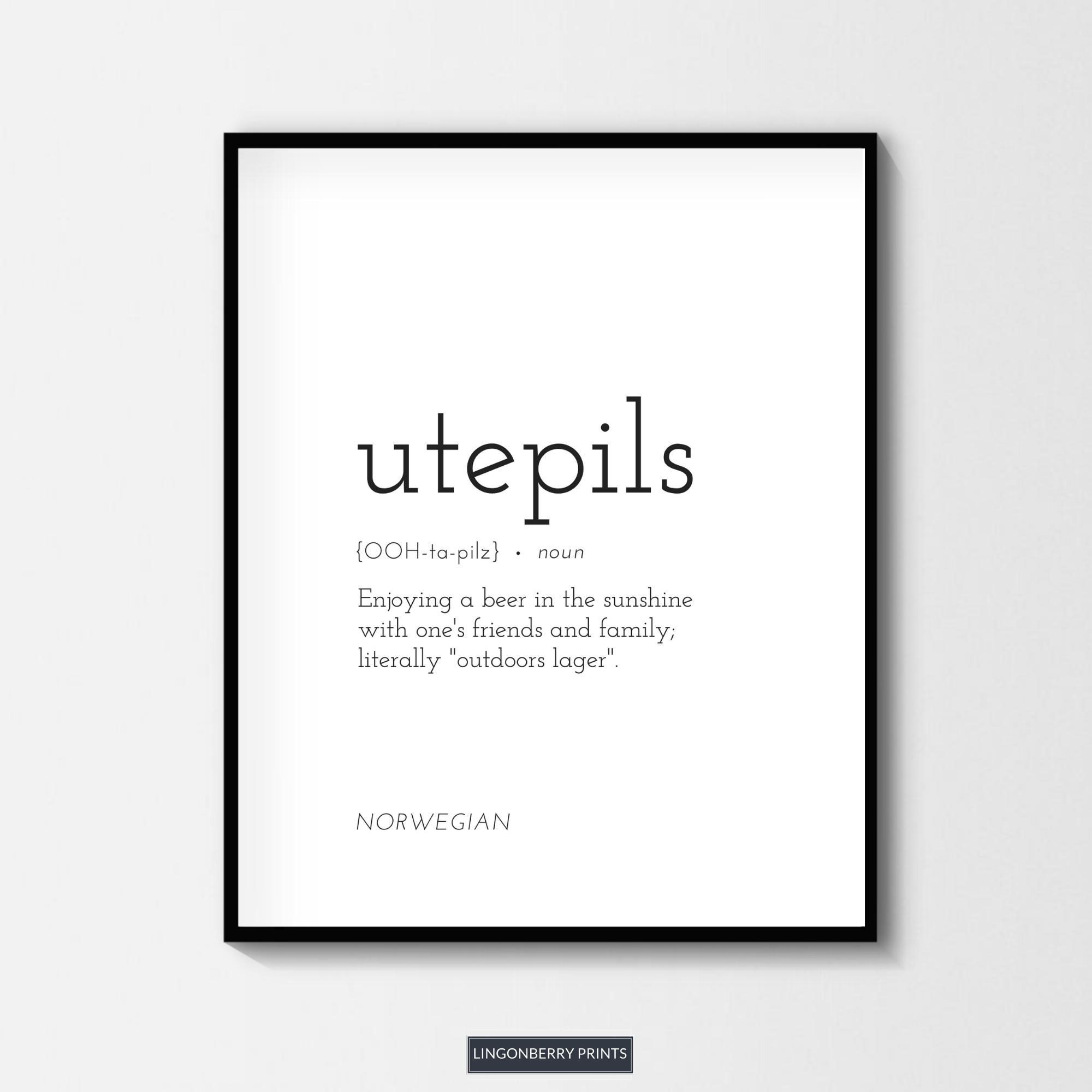Utepils Definition Print Norwegian Norway Scandinavian Etsy In 2020 Peace Quotes Norwegian Words One Word Quotes