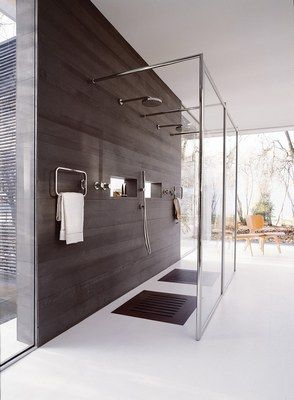 Mod�le trendy 4000, Inda pour Brossette - D�co�: Salles de bain - Des parois de douche transparentes qu?il est de bon ton d?associer � un int�rieur bois pour laisser primer la noblesse du mat�riau dans la salle de bain. Inda pour Brossette Mod�le trendy 4