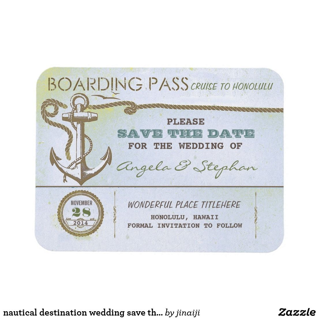 nautical destination wedding save the date Zazzle