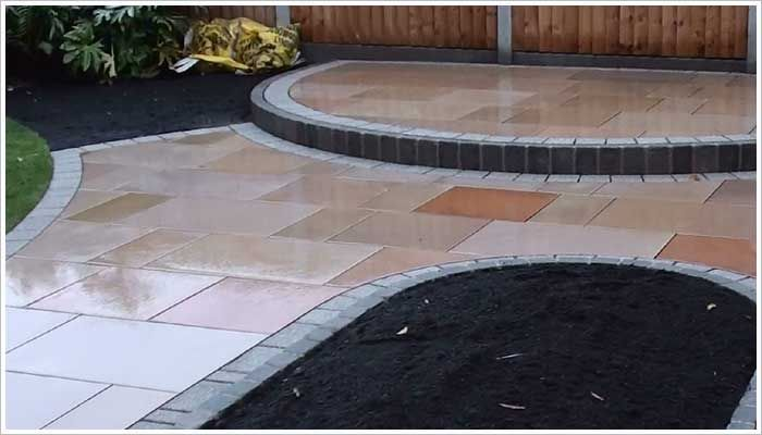 Delightful Fairstone Sawn Golden Sand Multi Patio Paving