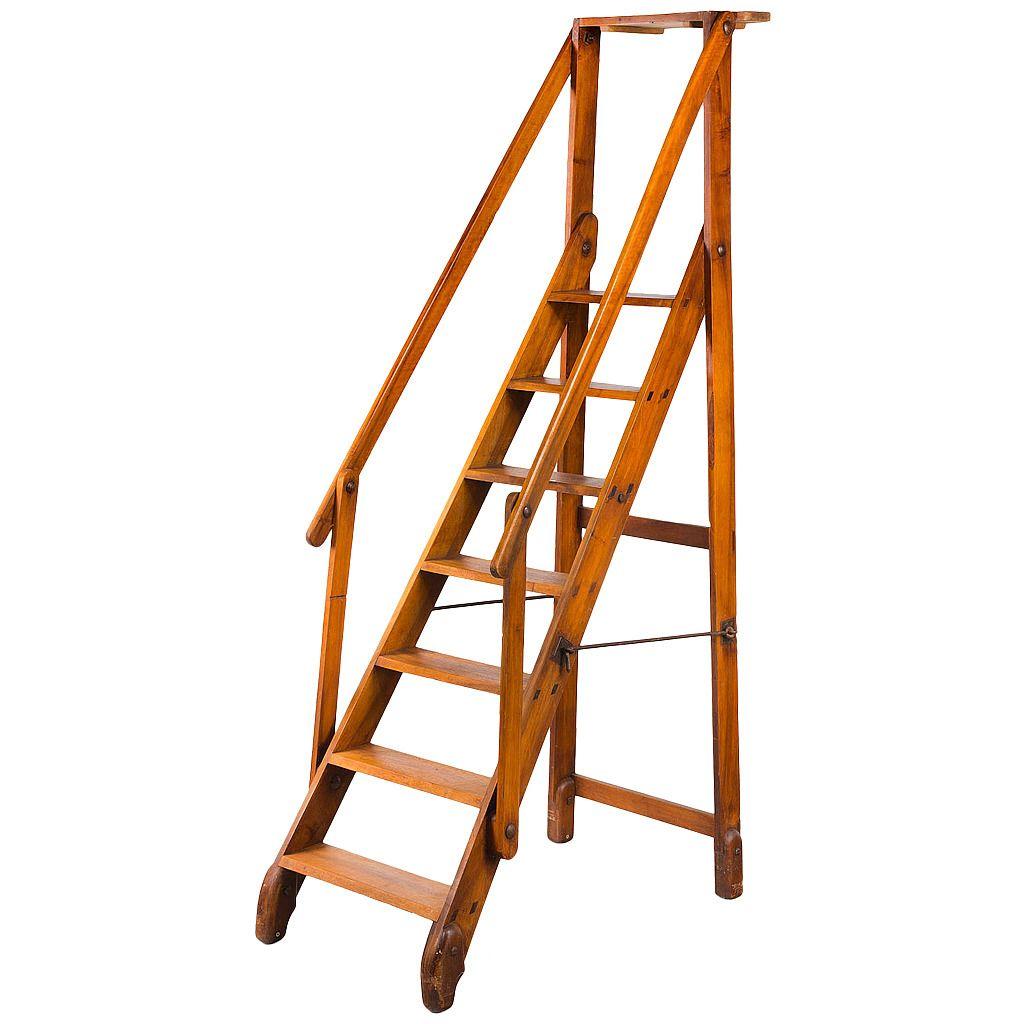 Early 20th Century Walnut Folding Library Ladder Library Ladder Ladder Loft Ladder