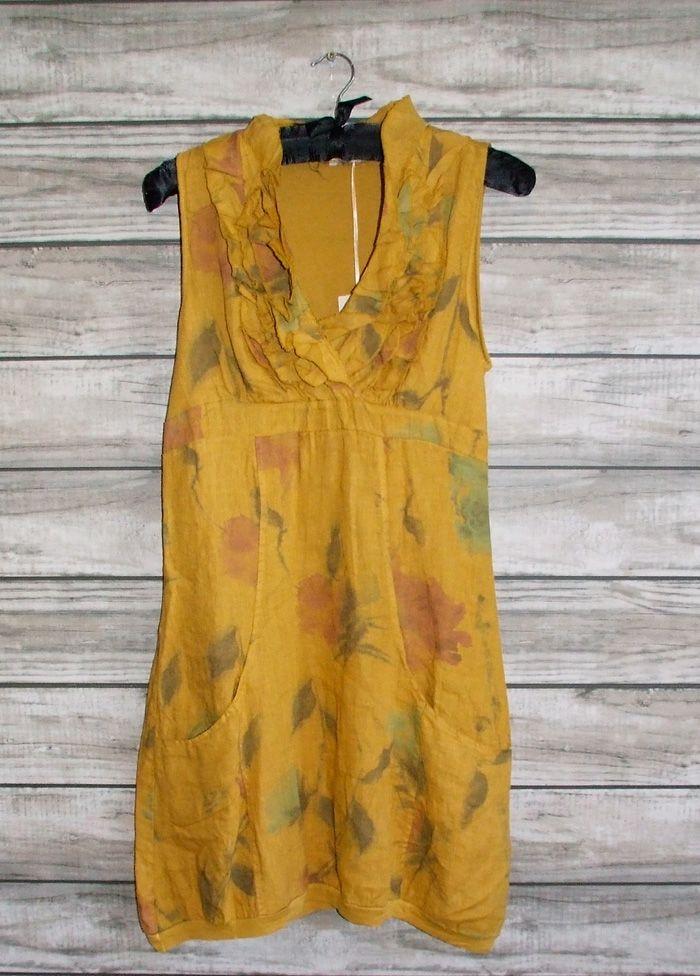c6f23347bd Made In Italy Shoreham Linen Dress Mustard Floral