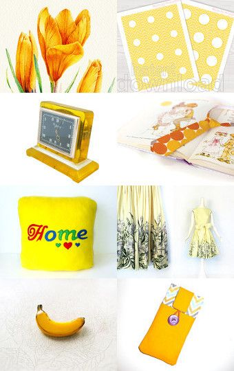 Yellow gifts - dress, cloching, vintage, jewelry etc