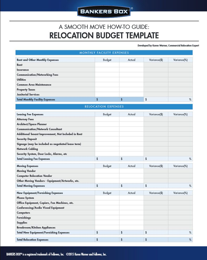 Manage your budget for moving the office with this template - office expenses template