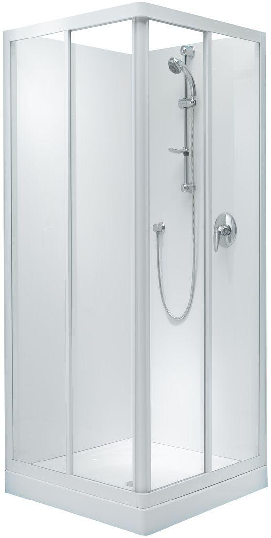 Englefield Sapphire Square Corner Sliding Shower Square Shower Double Sliding Doors White Frame Different Sizing Option Double Sliding Doors Bathroom Shower