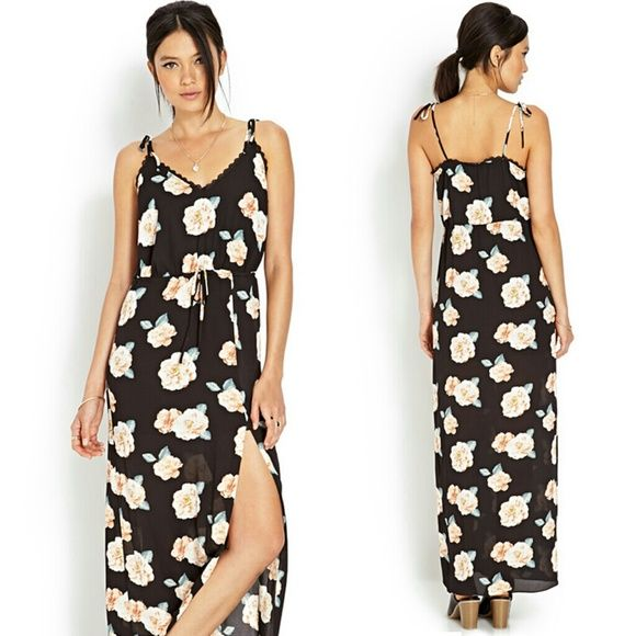 NWT Forever 21 Rose Floral Print Maxi dress size S NWT, polyester Forever 21 Dresses Maxi
