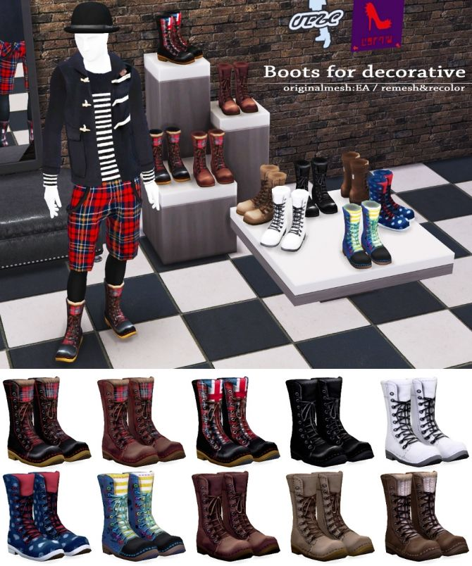 Decorative boots at Imadako via Sims 4 Updates