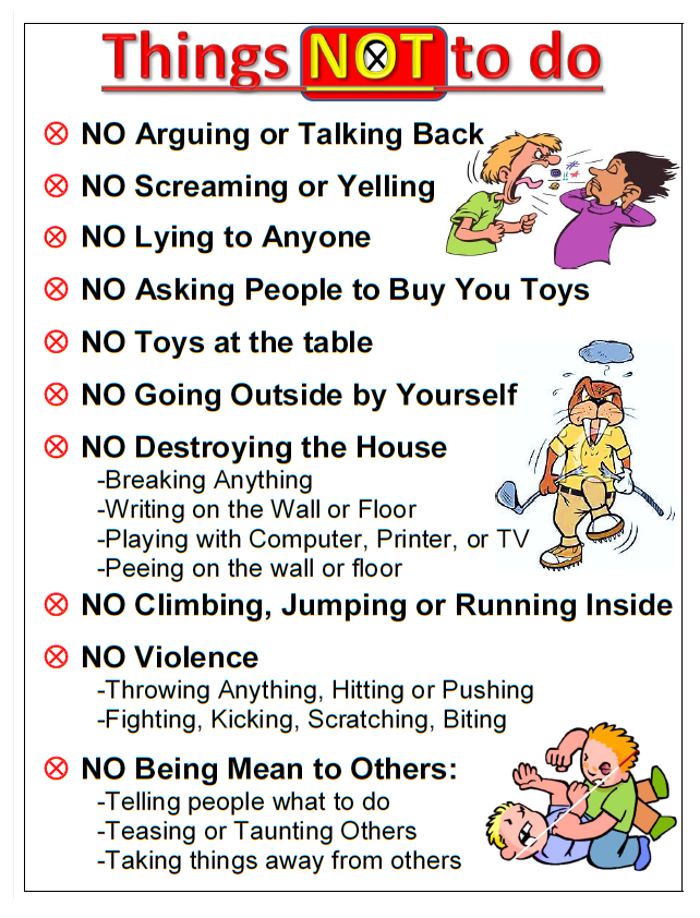 Inventive image in house rules for kids printable