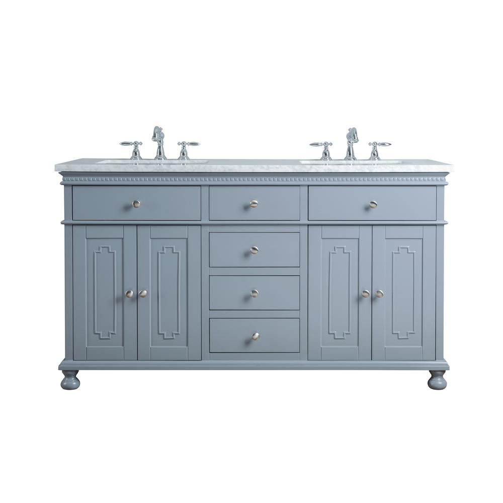 Stufurhome 60 In Abigail Embellished Double Sink Vanity In Grey With Marble Vanity Top In Carrara With White Basin Hd 1013g 60 Cr The Home Depot Double Sink Bathroom Vanity Bathroom Vanity Double Vanity