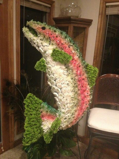 fish made of flowers