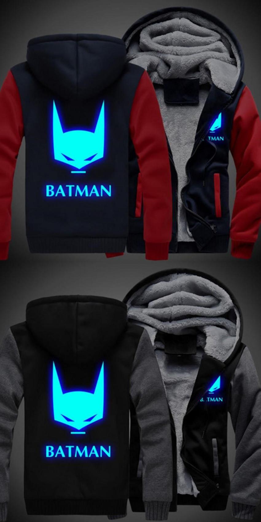 Free Shipping USA size Men Women Batman Hoodie Luminous Zipper Cosplay Jacket Customized Thicken Coat Sweatshirts