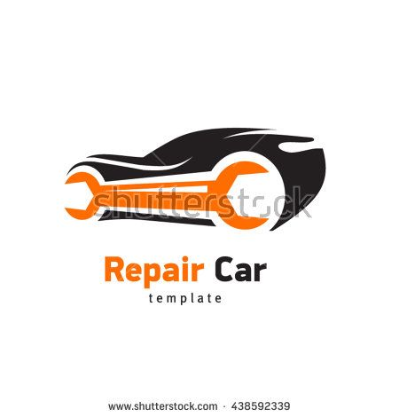 Repair Car logo, silhouette ca and wrench, sign emblem service ...
