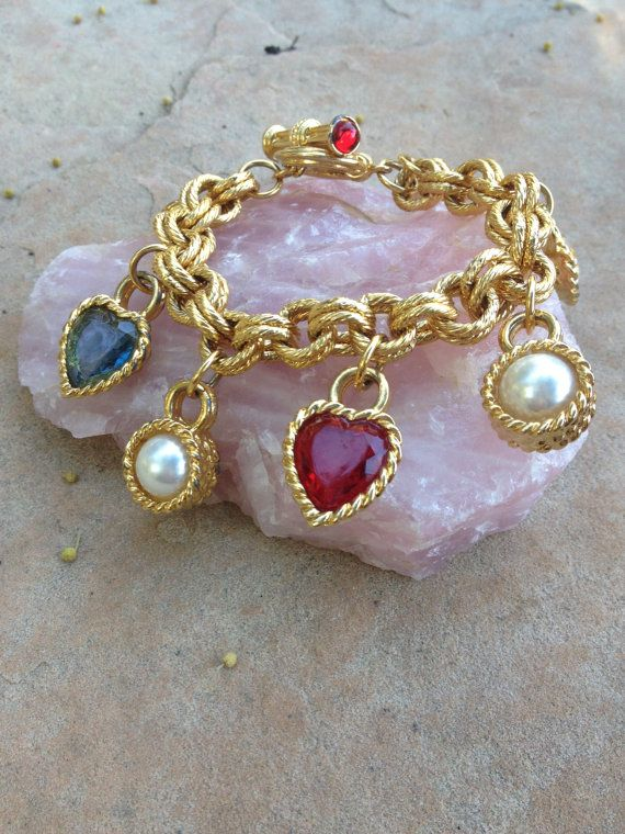 Charm Bracelet Featuring Hearts and Faux Pearls Togle Clasp With Faux Ruby Cabs by PaintItWhiteDecor