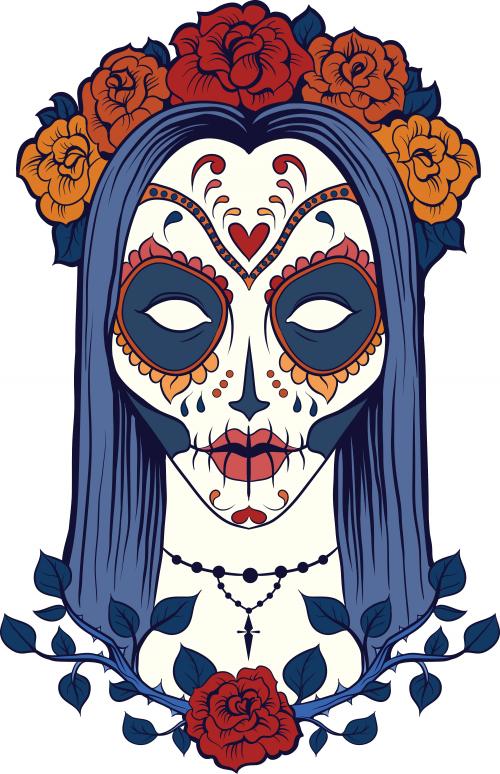 Sugar Skull Coloring Page 9 | Dibujo dia de muertos ...