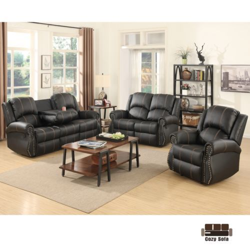 Room Gold Thread Sofa Set Loveseat Couch Recliner Leather Living Furniture