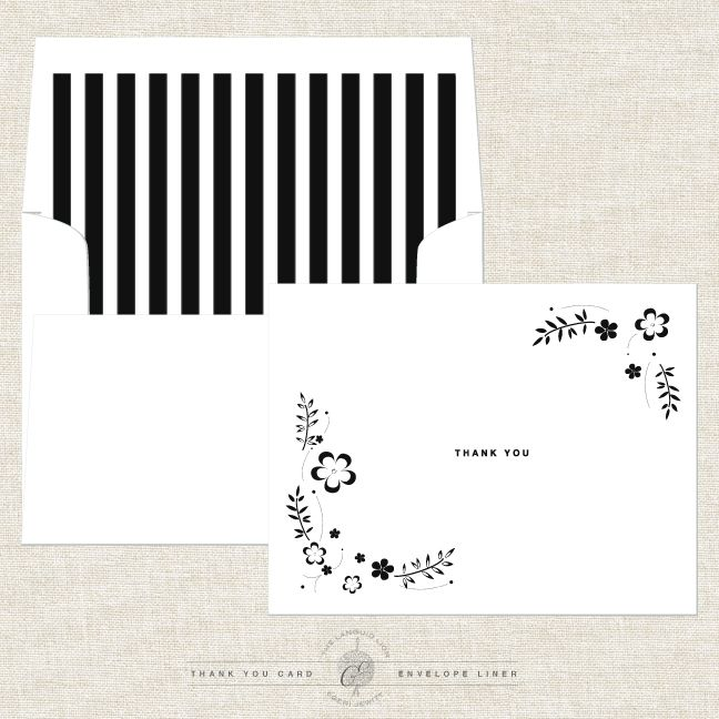 Free Printable Thank You notes  Envelope Liner template set on