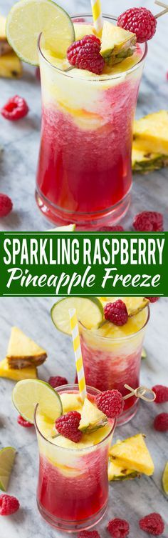 Sparkling Raspberry Pineapple Freeze - A festive and refreshing drink that takes just minutes…