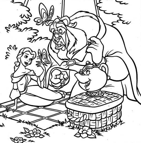 Belle, Mrs Potts and the Beast on Picnic Coloring Page - Download ...