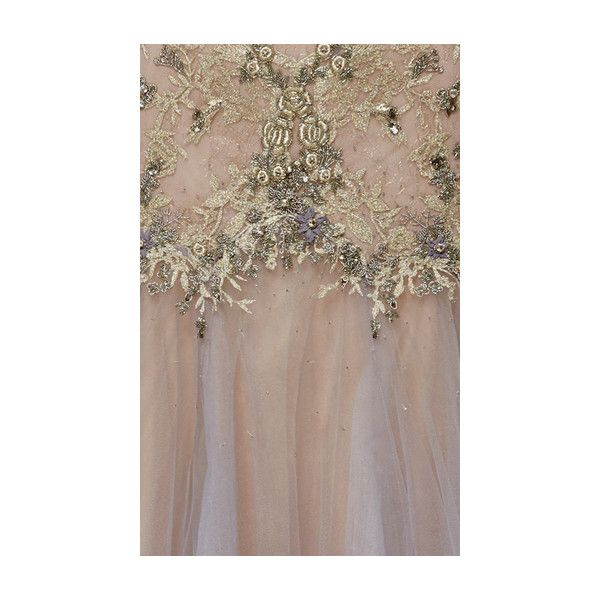Marchesa Illusion Tulle A-Line Gown ($8,495) ❤ liked on Polyvore featuring dresses, gowns, tulle evening gown, tulle ball gown, embroidered dress, short sleeve gown and marchesa evening gowns