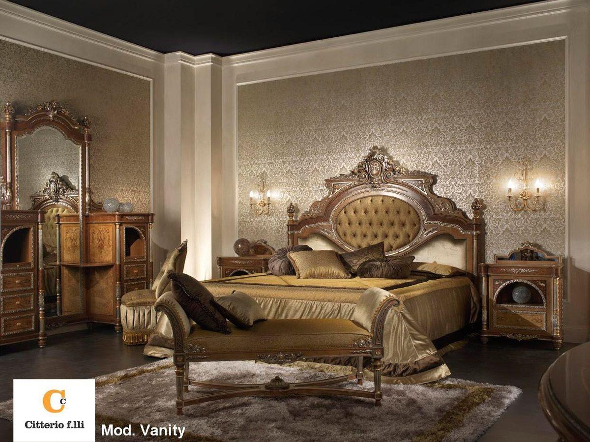 Camera da letto classica di lusso camera da letto in legno massello e radica vanity chambre - Testa del letto ...
