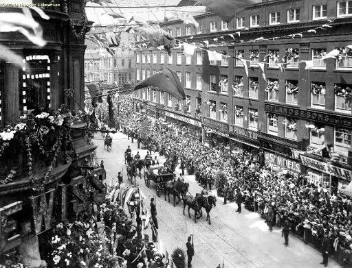 Royal Visits, the visit of Edward VII and Alexandra for the official opening of the new Manchester Royal Infirmary on Oxford Road.
