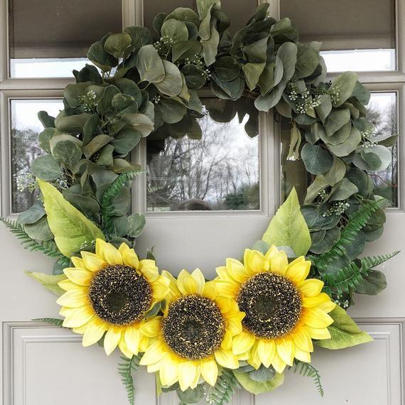 Photo of Spring Eucalyptus Wreath – Spring Sunflower Wreath – Large Spring Door Wreath – Spring Wreath