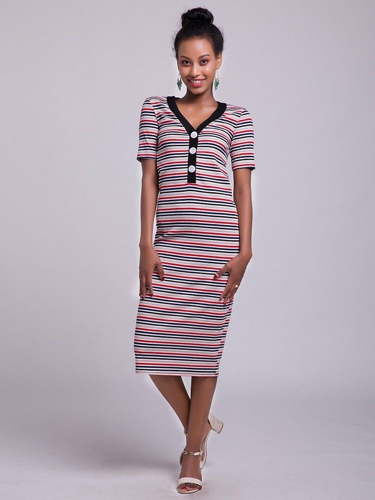 acd474441db9d JurllyShe V-Neck Striped Knitted Midi Dress Casual Dress