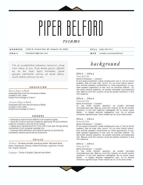 Resume 4pk The Piper Belford by arjoandlei on Etsy ETSY - resume for hairstylist