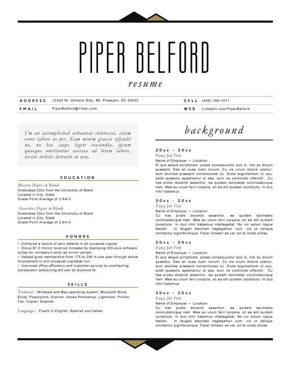 Resume 4pk The Piper Belford by arjoandlei on Etsy ETSY