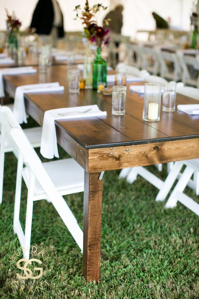 white folding chairs with wood farm tables Farm table