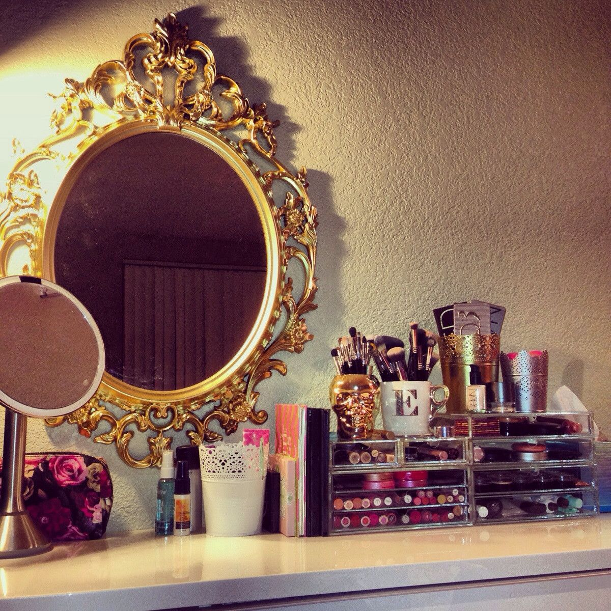 makeup vanity with lots of storage. Makeup battlestation  Key components Good lighting unique mirror and lots of organization