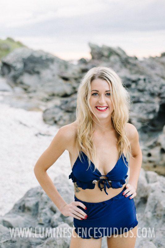 Poppy swimsuit bikini retro style high waisted halter top