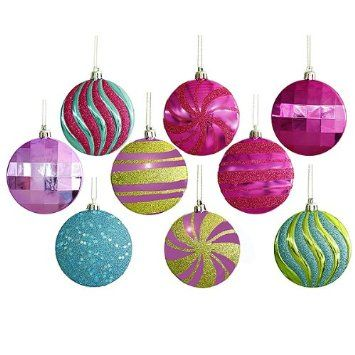 Amazon Com 9ct Candy Fantasy Multi Colored Shatterproof Christmas Disk Ornaments 3 75mm Christmas Ornaments Round Ornaments Christmas Tree Ornaments