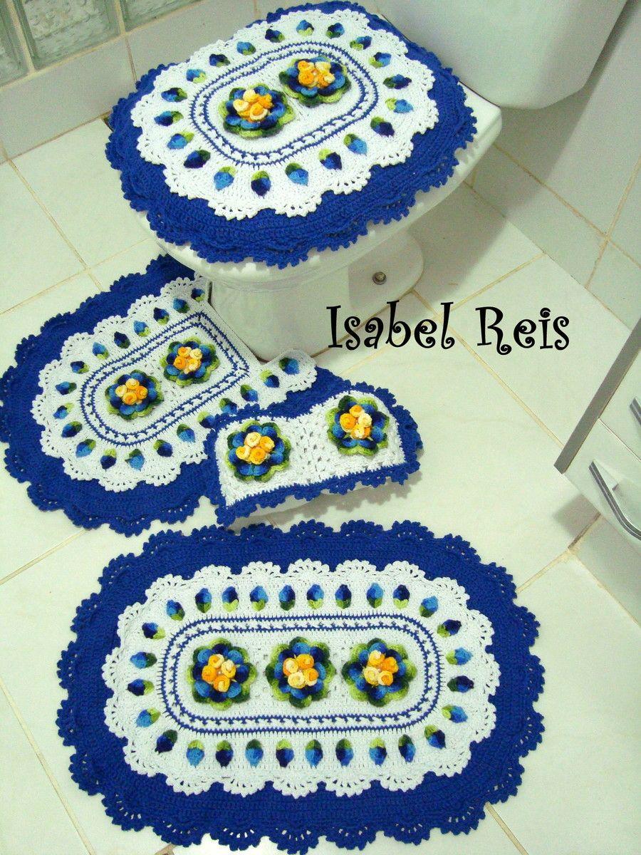 Jogo De Banheiro Azul Em Croche : Jogo de banheiro croch? arte em linhas linha e