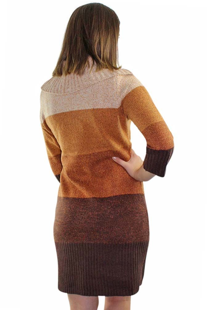 Brown Long Sleeve Cable Knit Sweater Dress