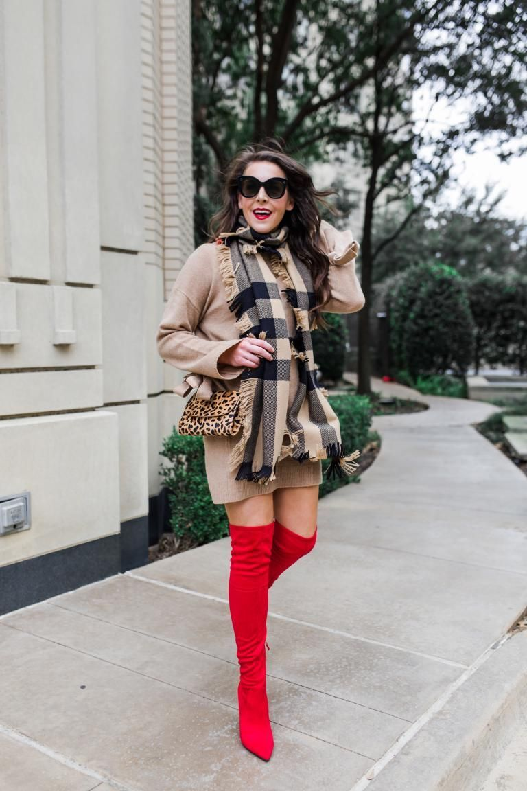 bda2f567fa1 fashion and frills Dallas blogger wearing red over the knee boots ...