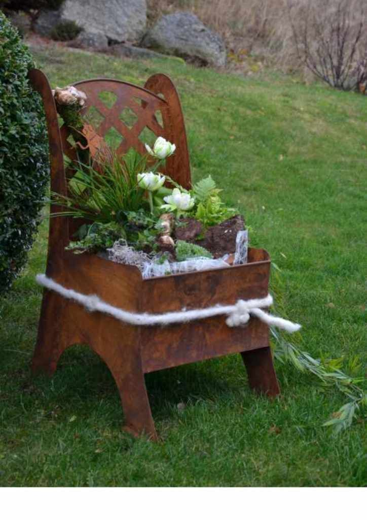 Metall Stuhl Garten Deko Idee Zum Beflanzen Garten