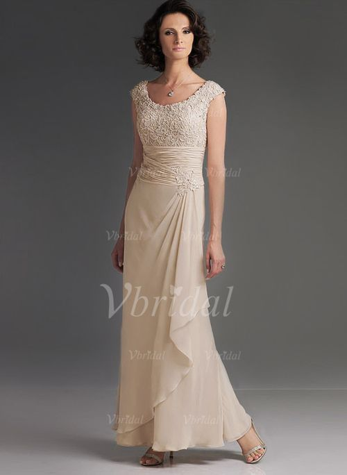Kleider für die Brautmutter - $147.66 - A-Linie/Princess-Linie U-Ausschnitt Bodenlang Chiffon Kleid für die Brautmutter mit Rüschen Spitze Gestufte Rüschen (0085057599)