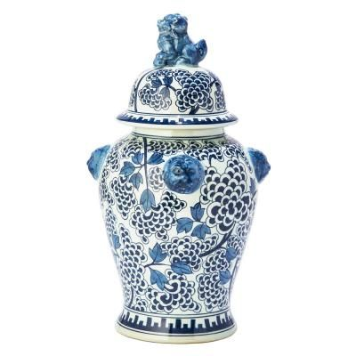 Two's Company 19 in. High Blue and White Peony Flower Hand painted Porcelain Covered Temple Jar with Lion Accents