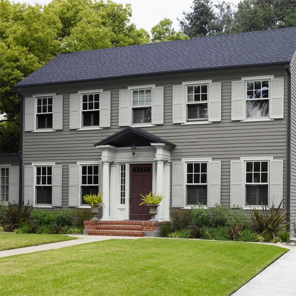 Behr Premium Plus 1 Gal Ppu24 07 Barnwood Gray Flat Exterior Paint And Primer In One 440001 Colonial House Exteriors Exterior House Colors Colonial Exterior