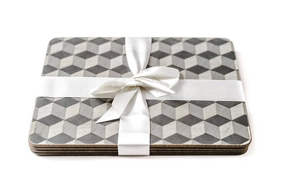 6 Large Grey Place Mats And Coasters Set Gray Placemats Melamine Wedding Gift Tablemats Escheresque E Inder Designs Christmas