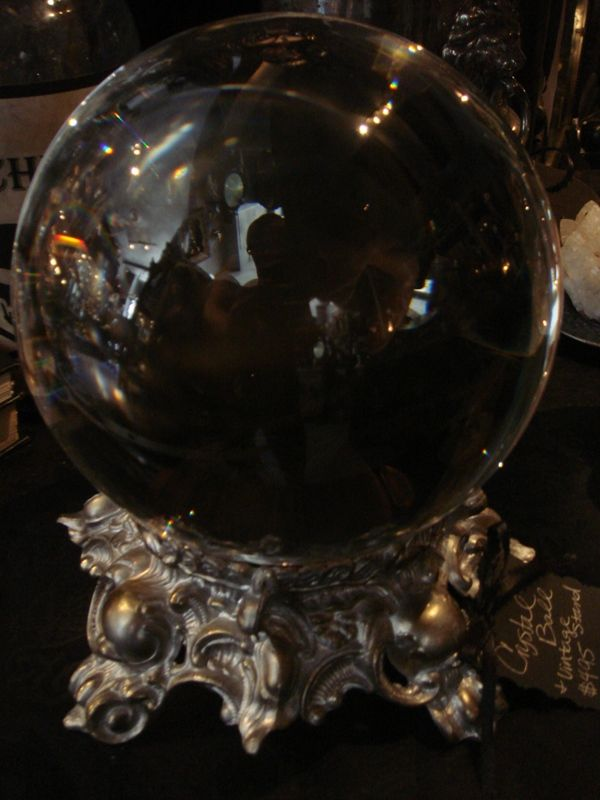 Huge Glass Crystal Ball 200 Mm On Ornate Antique Stand
