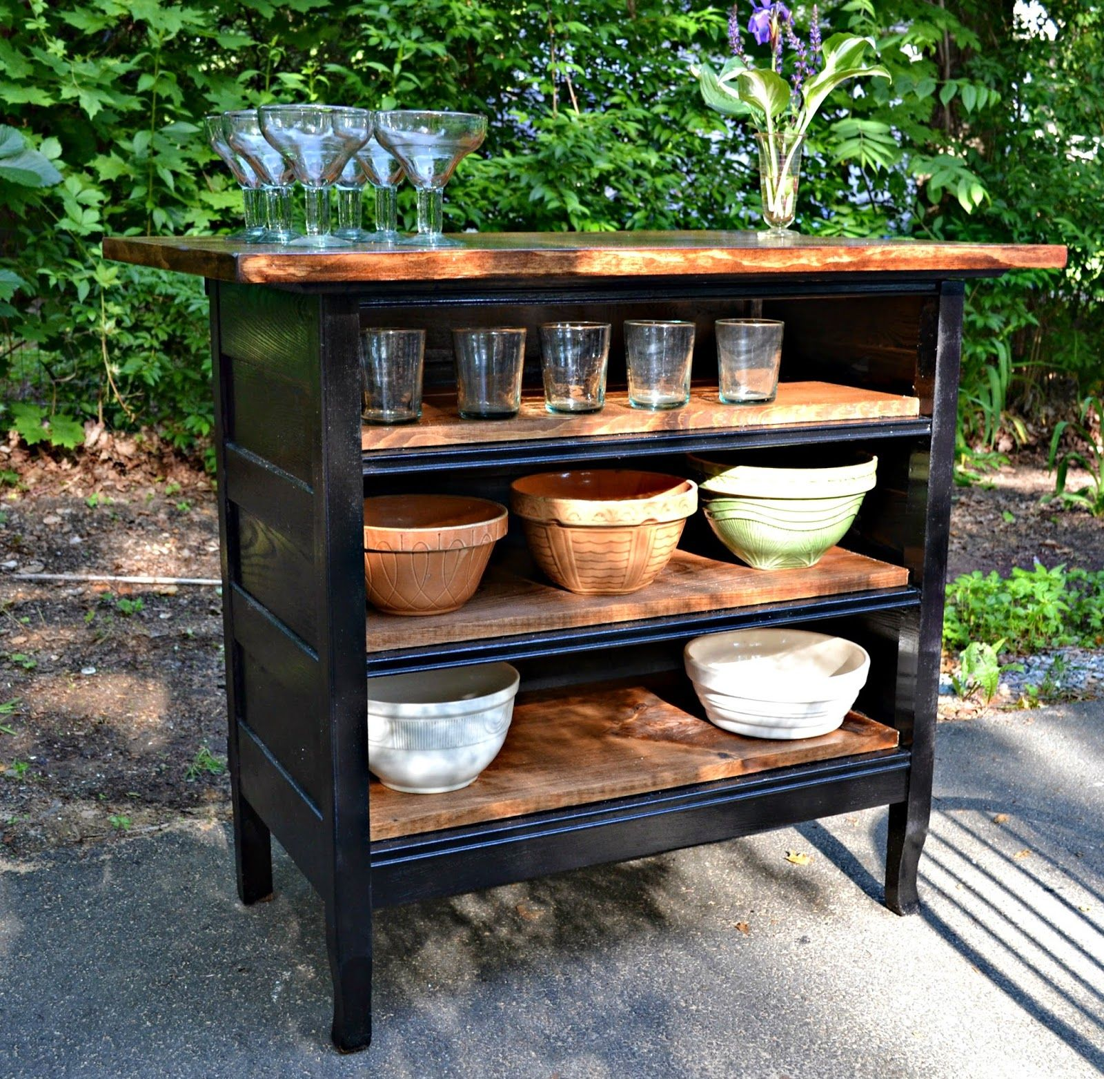 Repurposed Antique Dresser As A Kitchen Island With A: Antique Solid Oak 19th Century Dresser Turned Kitchen