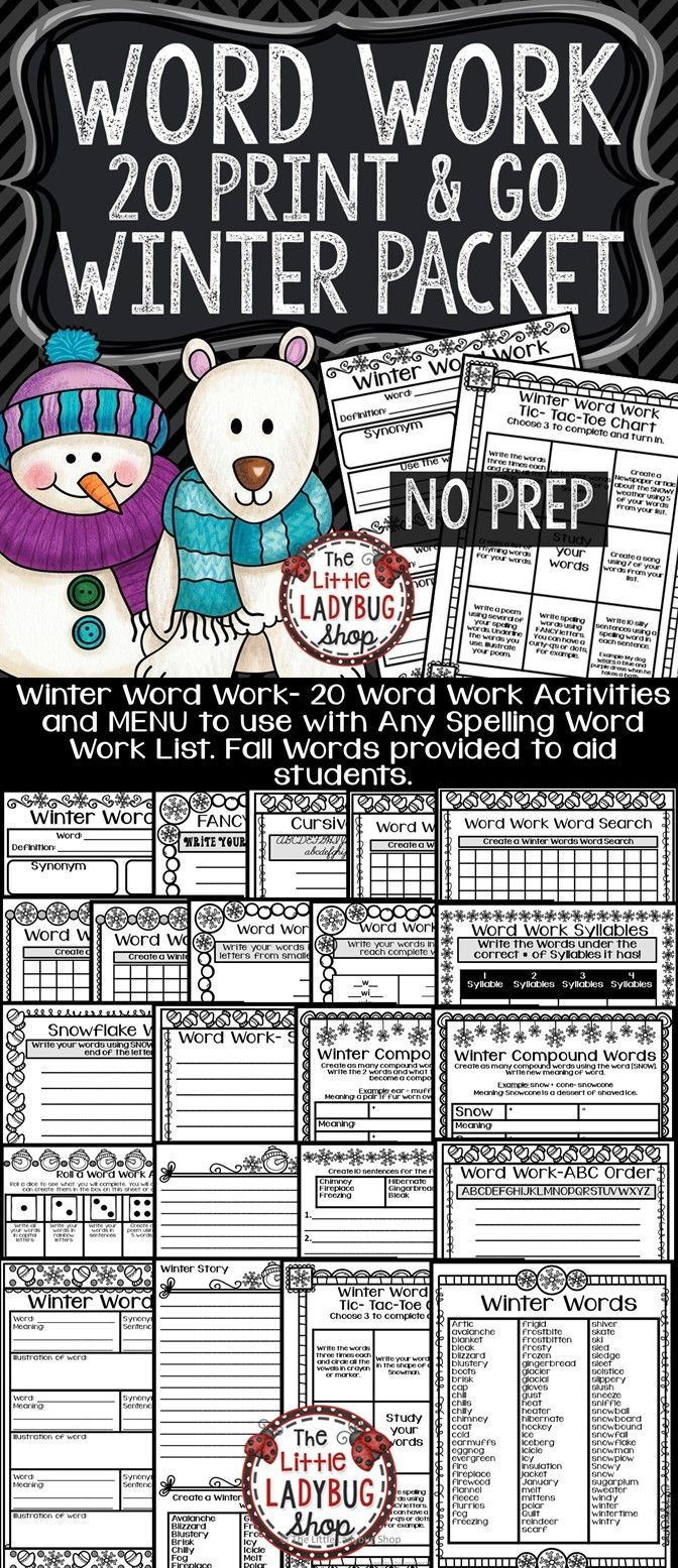 Winter Word Work Centers & Spelling Activities for Any ...